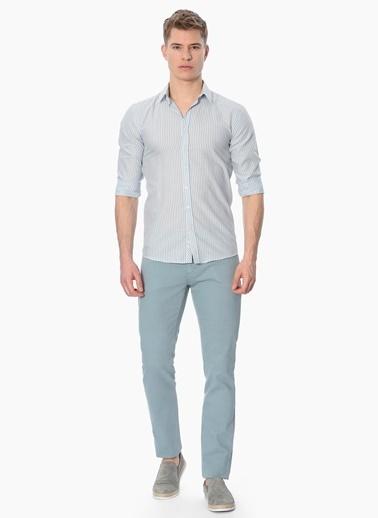 George Hogg Çizgili Slim Fit Uzun Kollu Gömlek Mavi